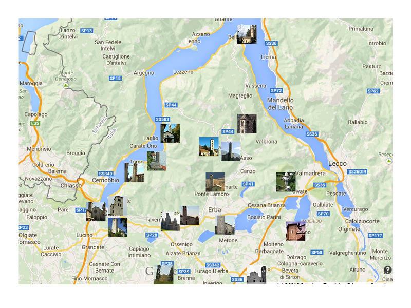 campanili romanici mappa